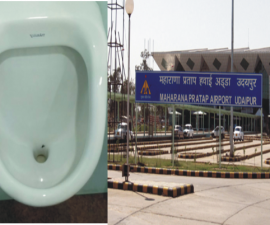 fake fly in urinals at udaipur airport