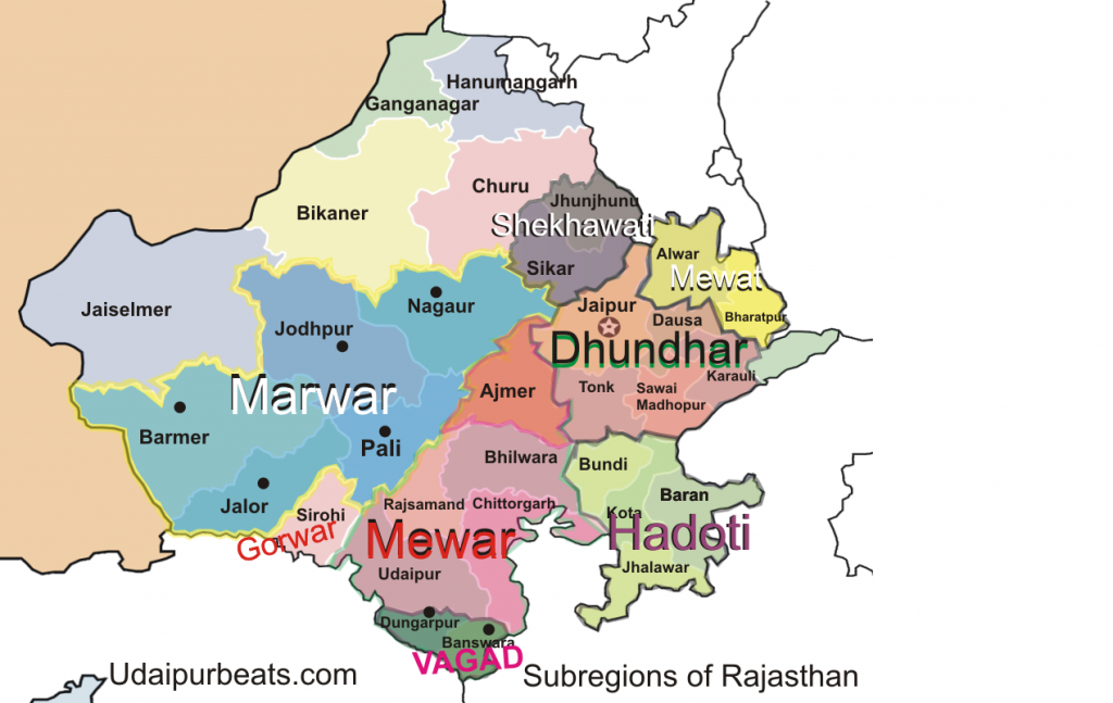 subregions of Rajasthan Map