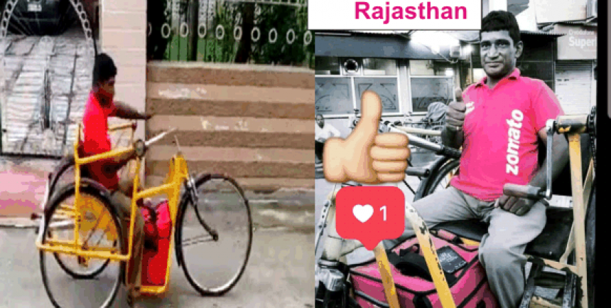 differently abled zomato delivery guy