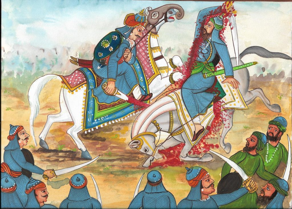 Maharana Pratap sliced along with the horse